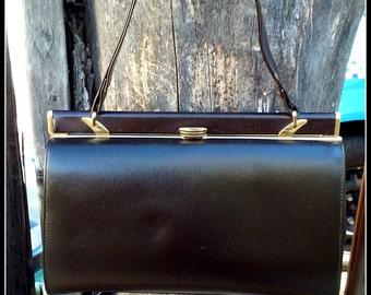 Vintage 1950s 1960s  Handbag Purse Made Chocolate Brown Leather In England Rockabilly Mod