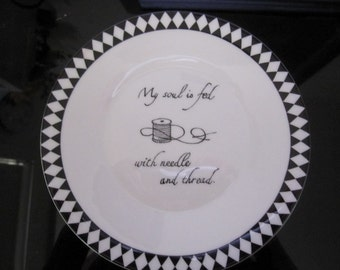 Hand painted Wedgwood black and white sewing plate