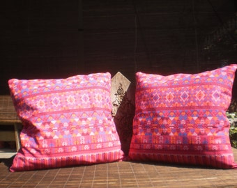 Thai Traditional Print Fabric Cushion Covers, Set Of 2 Covers, Pink Pill, Tribal Pillow, Thai Pillow,