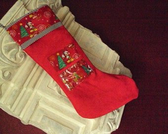 Picture pocket Mickey Mouse Christmas Stocking, personal picture pocket, large stocking