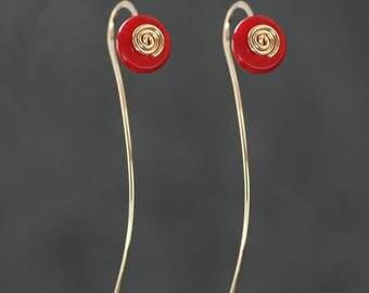 14k gold filled spiral wiring red coral earring handmade US free shipping Anni Designs
