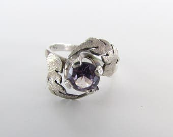 Sterling Silver and Amethyst Botanical Ring Size 6 - Vintage  925 Leaf Jewelry