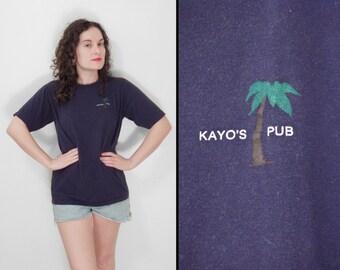 KAYO'S Pub Shirt 1980s Portland Maine Sportswear Palm Tree Navy Size Medium