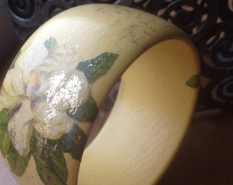 Rustic decoupaged wooden bangle, real Gold Leaf Bracelet, Decoupaged Wooden Bangle Gilded Magnolia
