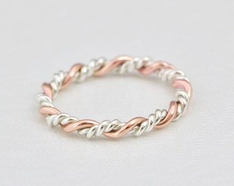 Braided Ring, Rose Gold Twist Ring, Stacking Ring, Gold Stack Ring, Rose Gold Ring, Twisted Ring, Stacked Rings, Thumb Ring,