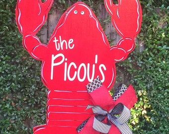Crawfish Door Hanger, Summer Door Hanger, Crawfish Boil, Cajun Crawfish, Louisiana Crawfish, Crayfish, Mudbugs