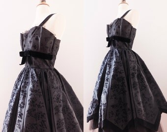 1950s Velvet Tulle Brocade Dress with Bow and Shelf Bust // 50s Hepburn Prom Dress- 50% OFF Coupon Code: CLEAROUT17