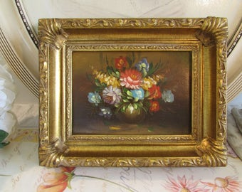 Antique/vintage oil painting of bowl of flowers in thick gilt frame