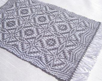 dollhouse rug hand woven miniature charcoal gray dollhouse rug gray miniature rug handwoven maltese cross rug