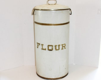 "Antique Tin Flour Bin 25"" Canister 1920s"