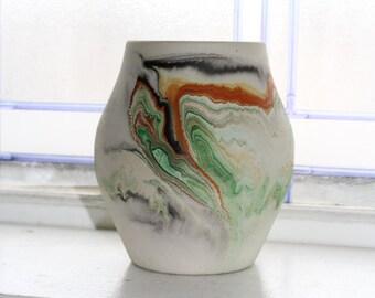 Vintage Nemadji Pottery Vase 5.25 Inch Swirl Pottery