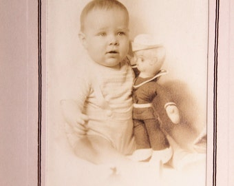 Baby Boy with Sailor Doll Photograph Vintage 1930s