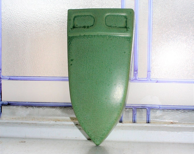 Art Deco Wall Pocket Green Pottery Vintage 1920s