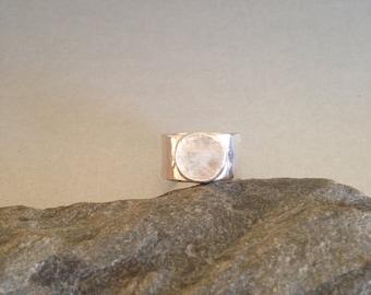 Silver Ring - Wide Band Ring -Moonstone Ring- Artisan Ring