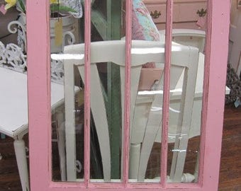 Hand Painted Window Architectural Salvage Farmhouse Pink Prairie Primitive Cottage Chic Shabby Chic