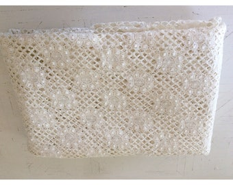 Basketweave Cluny Lace Cotswold Leavers Crochet knobby Lace, New old stock