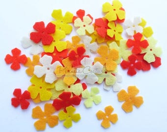 Felt Flower Mini, set of 50, Die Cut Shapes, Applique, Confetti, Party Supply, DIY Wedding