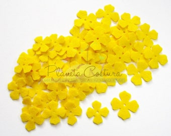 Felt Flower Yellow, 50 pieces, Die Cut Shapes, Applique, Confetti, Party Supply, DIY Wedding