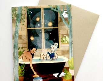 Two Women Night Bath | A2 Greeting Card w/ Envelope | Forest Cabin | Watercolor painting | LBGQ | Christa Pierce