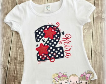 4th of July Birthday Shirt- Patriotic number- Navy and Red- Stars