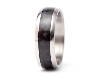 Men's titanium and carbon fiber woven at 45º ring . Unique and industrial black wedding band. Water resistant hypoallergenic. (00331_7N)