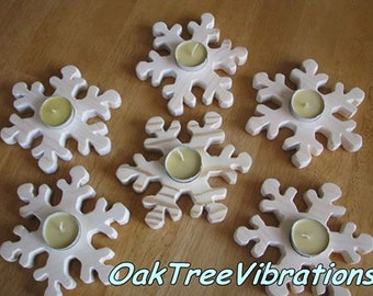 Wooden Winter Snowflake Candle Holder