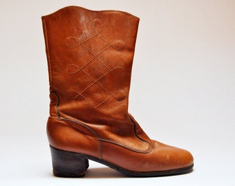 Vintage Brown Leather Heeled Western Boots