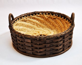Vintage Oak Wood Splint and Straw Round Woven Basket