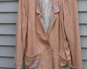 Vintage Hand Painted  Milagro Char and Sher Deer or Suede jacket ala 1980s