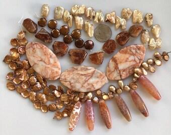 Bead Destash, Mixed Lot, Fresh Water Pearls, Fire Agate, Sunstone, Jasper