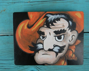 Oklahoma State University Pistol Pete \OSU mascot sign hand painted \Go Pokes\ by Stillwater Artist Bill Miller Officially licensed by OSU