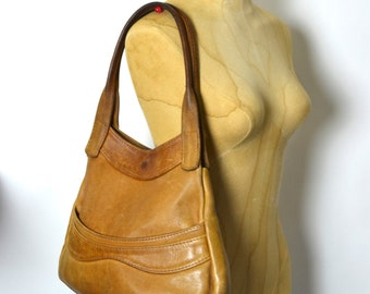Vintage 1970s Ultra Soft Leather Tan Hobo Bag