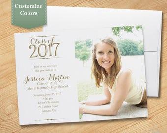 Photo Graduation Invitation, High School, College, Graduation Party, Photo Invite, Printable, Printed, Class of 2017 - Simplicity Photo