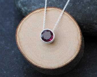 Rhodolite Garnet Pendant Necklace - Pink Gem Silver Necklace - Deep Pink Gemstone Necklace - Small Pendant Necklace  FREE SHIPPING