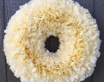 ON SALE Ready to Ship Wreath - Buttercream Wreath - Ivory Wreath - Wedding Wreath - Indoor Outdoor Wreath - Off White Wreath - Door Wreath