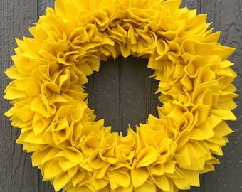 Yellow Wreath - Felt Wreath - Rag Wreath - Large Wreath - Bright Wreath - Winter Wreath - Spring Wreath - Flower Wreath - Door Wreath