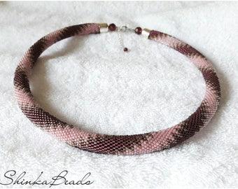 Purple pastel zigzags seed bead necklace elegant accessory handmade geometric zigzag pattern