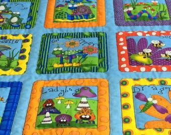 Big-Eyed BUGS in Blue Baby Quilt, Newborn Blanket, Toddler Nap Quilt, Nursery Wall Art