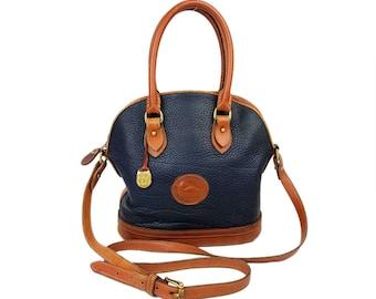 Vintage Dooney & Bourke All Weather Leather Satchel Purse // Large Navy and Tan Cross-Body Adjustable Shoulder Strap DB AWL Bag Handbag