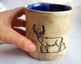 Large Reindeer Footprints Woodland Ceramic Coffee Mug Tea Cup Whimsical Nature Animal Lover Hunters One of a kind Gift Pottery OOAK 14 oz