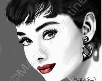 Portrait of Audry Hepburn Canvas Print ready to hang!