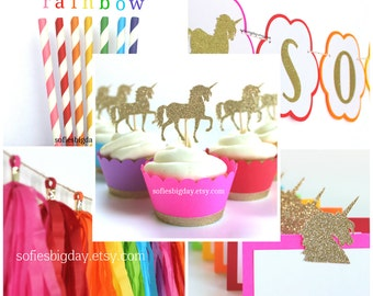 Unicorn Party Pack-unicorn party bundle. rainbow unicorn birthday. unicorn rainbow party decorations. rainbow party decor. unicorn party