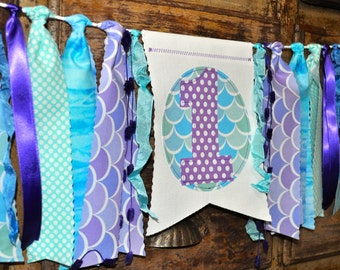 Mermaid, Under the sea birthday decor, first birthday highchair rag banner, 1st birthday cake smash prop, purple lavender aqua blue, I am 1