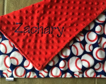 "Create Your Own Monogrammed Baseball Minky Baby Lovey. 17""  Minky Security Blanket."