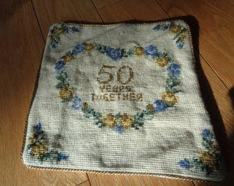 Vintage Needlepoint Pillow celebrating and honoring a Golden Wedding Anniversary of 50 Years in Blue and Gold Threads in Very Good Condition