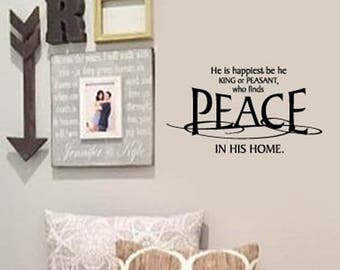 FAMILY Wall Quotes Decal -  He Who finds PEACE in his HOME - Scripture - Vinyl Wall Art - Wall sayings