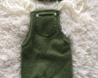 up cycled green knit newborn girl romper & headband, winter romper set, ready to ship newborn prop