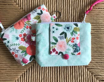 Notions Pouch - Zipper bag with Needle Page - Sewing Pouch - Modern Floral Fabric