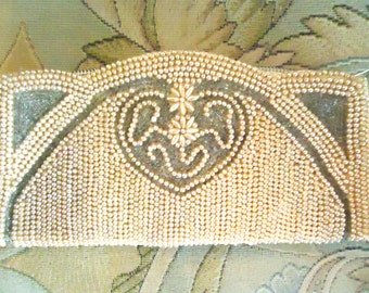 Ivory Beaded Clutch, Off White Wedding Purse, Brides Clutch, Vintage Bead Purse, Prom Bag, Collectible Evening Bag, Cream Purse, Bohemian