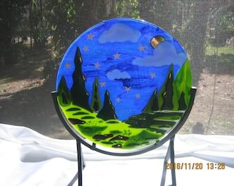 STARRY STARRY NIGHT - Fused Glass Suncatcher Art Glass Sculpture Full Moon & Stars landscape woodland scene large glass suncatcher sculpture